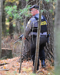 State Police secure a permitter in the search area. Police continue to search for fugitive Eric Matthew Frein on Oct. 10, 2014, near Canadensis, PA. Frein is accused of shooting two Pennsylvania State Troopers fatally wounding one 28 days ago. (Chris Post | lehighvalleylive.com)