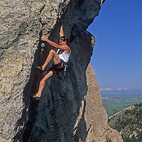 "Rock climber Alex Lowe free-solos without a rope on ""Mean Streak,"" near Bozeman, Monana."