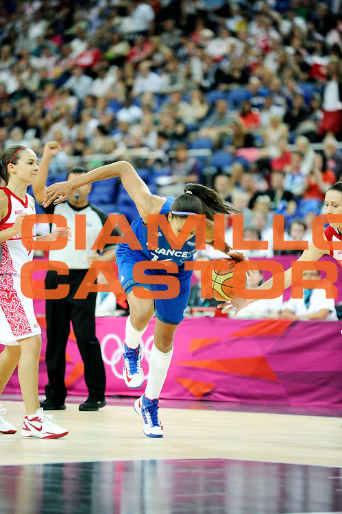 DESCRIZIONE : Basketball Jeux Olympiques Londres Demi finale<br /> GIOCATORE : NDongue Emmeline<br /> SQUADRA : France  FEMME<br /> EVENTO : Jeux Olympiques<br /> GARA : France Russie<br /> DATA : 09 08 2012<br /> CATEGORIA : Basketball Jeux Olympiques<br /> SPORT : Basketball<br /> AUTORE : JF Molliere <br /> Galleria : France JEUX OLYMPIQUES 2012 Action<br /> Fotonotizia : Jeux Olympiques Londres demi Finale Greenwich Northwest Arena<br /> Predefinita :