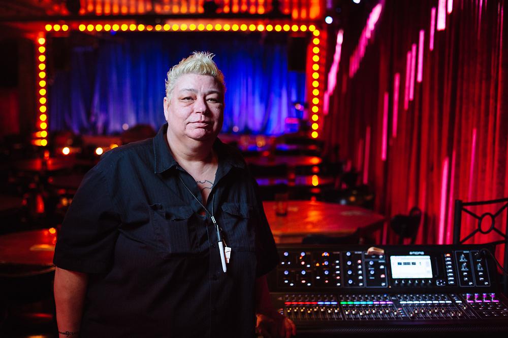 Shira Otchis, sound engineer, at Jack London Revue for Vortex Music Magazine. Photo by Jason Quigley