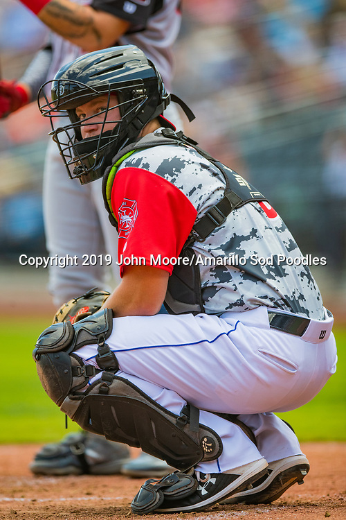 Amarillo Sod Poodles catcher A.J. Kennedy (8) looks to the dugout against the Arkansas Travelers on Monday, Sept. 2, 2019, at HODGETOWN in Amarillo, Texas. [Photo by John Moore/Amarillo Sod Poodles]