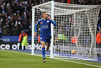 Photographer Stephen White/CameraSport<br /> <br /> The Premier League - Leicester City v Everton - Sunday 29th October 2017 - King Power Stadium - Leicester<br /> <br /> World Copyright © 2017 CameraSport. All rights reserved. 43 Linden Ave. Countesthorpe. Leicester. England. LE8 5PG - Tel: +44 (0) 116 277 4147 - admin@camerasport.com - www.camerasport.comLeicester City's Jamie Vardy celebrates scoring the opening goal <br /> <br /> Photographer Stephen White/CameraSport<br /> <br /> The Premier League - Leicester City v Everton - Sunday 29th October 2017 - King Power Stadium - Leicester<br /> <br /> World Copyright © 2017 CameraSport. All rights reserved. 43 Linden Ave. Countesthorpe. Leicester. England. LE8 5PG - Tel: +44 (0) 116 277 4147 - admin@camerasport.com - www.camerasport.com