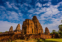 Pre Rup is a Hindu temple at Angkor, Cambodia, built as the state temple of Khmer king Rajendravarman and dedicated in 961 or early 962. It is a temple mountain of combined brick, laterite and sandstone construction.