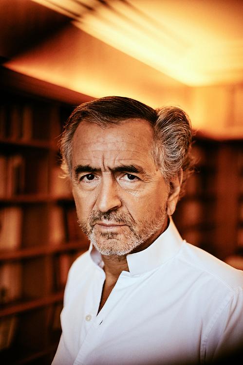 Bernard Henri-Levy, aka BHL, writer, philosopher, at home in Paris, France. January 22, 2019.<br /> Bernard Henri-Levy, alias BHL, philosophe et ecrivain, chez lui a Paris, France. January 22, 2019.