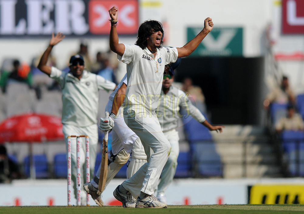 Ishant Sharma of India celebrates after appealing successfully for the wicket of Alastair Cook captain of England during day one of the 4th Airtel Test Match between India and England held at VCA ground in Nagpur on the 13th December 2012..Photo by  Pal Pillai/BCCI/SPORTZPICS .