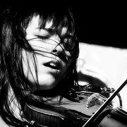 Paris Hurley on violin for Kultur Shock live at Global Union in Milwaukee, WI. Photo © Jennifer Rondinelli Reilly. All rights reserved.