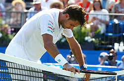 June 20, 2017 - London, United Kingdom - Stan Wawrinka  (SUI)   against    Feliciano Lopez  (ESP)  during Round One match on the second day of the ATP Aegon Championships at the Queen's Club in west London on June 20, 2017  (Credit Image: © Kieran Galvin/NurPhoto via ZUMA Press)