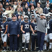 NEW HAVEN, CONNECTICUT - NOVEMBER 18: Yale head coachTony Reno (left), reacts as the game finishes during the Yale V Harvard, Ivy League Football match at the Yale Bowl. Yale won the game 24-3 to win their first outright league title since 1980. The game was the 134th meeting between Harvard and Yale, a historic rivalry that dates back to 1875. New Haven, Connecticut. 18th November 2017. (Photo by Tim Clayton/Corbis via Getty Images)