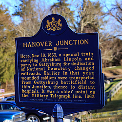 Hanover Junction, PA, USA - February 28. 2016: A historical marker sign notes the significance as President Lincoln passed through the area while enroute to Gettysburg to deliver his speech.