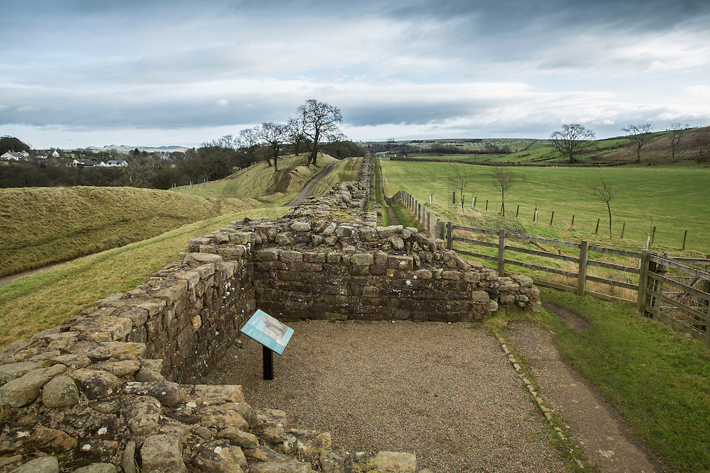 view of the Hadrian's wall near Brampton. ruins of Willowford Wall, Turrets and Bridge