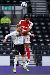 Michael Ihiekwe of Rotherham United jumps high to head the ball - Mandatory by-line: Ryan Crockett/JMP - 16/01/2021 - FOOTBALL - Pride Park Stadium - Derby, England - Derby County v Rotherham United - Sky Bet Championship
