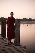 Monke in U Bein Bridge, Amarapura, Burma.<br />