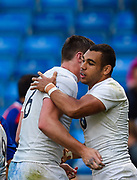 England flanker George Nott congratulates centre Joe Marchant after Marchant's try during the World Rugby U20 Championship  match England U20 -V- Australia U20 at The AJ Bell Stadium, Salford, Greater Manchester, England on June  15  2016, (Steve Flynn/Image of Sport)