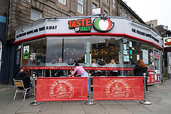 Edinburgh, Scotland, UK. 17 October 2020. Saturday afternoon in Edinburgh city centre during 16 day short circuit lockdown and bars are closed but cafes remain open. Streets in the Old town are very quiet and reminiscent of the eerie emptiness seen during the full lockdown earlier this year. Busy cafe on Leith Walk.  Iain Masterton/Alamy Live News