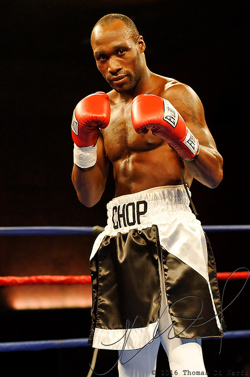 """DeMarcus """"Chop Chop"""" Corley celebrates his knockout victory over Donnell Logan after their bout at the Meidenbauer Center in Bellevue, WA on December 13, 2008."""