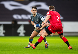 Tiaan Thomas-Wheeler of Ospreys under pressure from Jack Singleton of Saracens<br /> <br /> Photographer Simon King/Replay Images<br /> <br /> European Rugby Champions Cup Round 5 - Ospreys v Saracens - Saturday 11th January 2020 - Liberty Stadium - Swansea<br /> <br /> World Copyright © Replay Images . All rights reserved. info@replayimages.co.uk - http://replayimages.co.uk