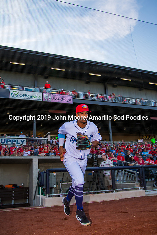 Amarillo Sod Poodles infielder Ivan Castillo (2) takes the field against the MidlandRockhounds during the Texas League Playoffs on Thursday, Sept. 5, 2019, at HODGETOWN in Amarillo, Texas. [Photo by John Moore/Amarillo Sod Poodles]
