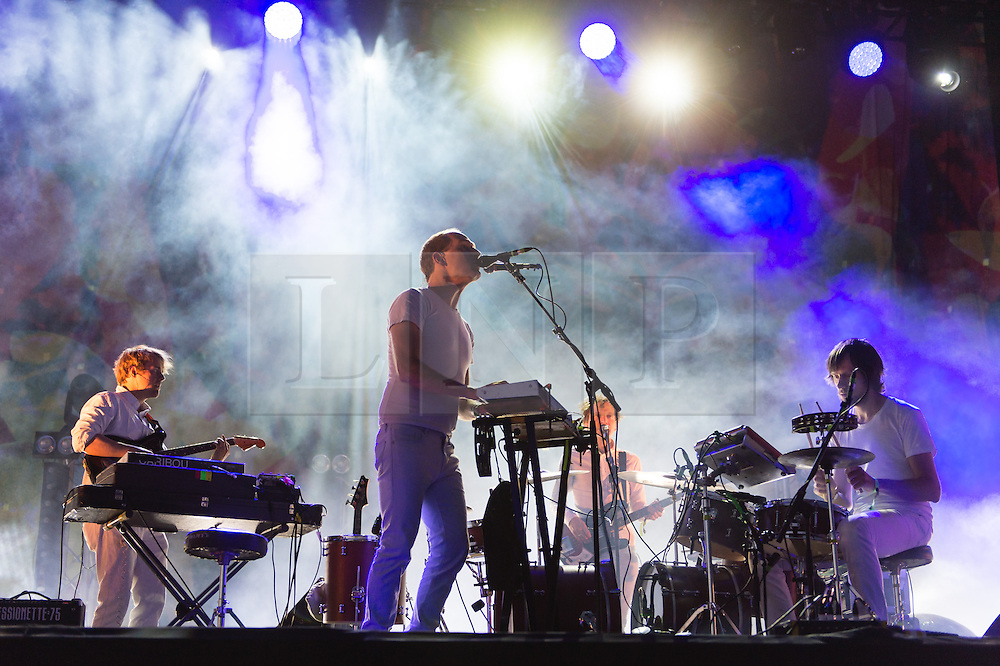 """© Licensed to London News Pictures. 06/06/2015. London, UK.   Caribou performing live at Field Day Festival Saturday Day 1.   Caribou is Daniel Victor """"Dan"""" Snaith, a Canadian composer, musician and recording artist who has performed under the stage names Caribou, Manitobaand Daphni.  Photo credit : Richard Isaac/LNP"""