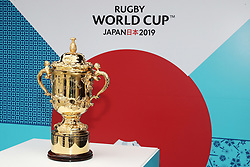 KYOTO, JAPAN - MAY 10: The William Webb Ellis Cup is displayed during the Rugby World Cup 2019 Pool Draw at the Kyoto State Guest House on May 10, in Kyoto, Japan. Photo by Dave Rogers - World Rugby/PARSPIX/ABACAPRESS.COM
