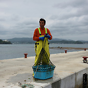A fisherman collects a box full of fish from the waters beside a pier in Togura, Miyagi prefecture. Since the 2011's tsunami that struck over the coastal areas of Japan, the fishing community of Togura, devastated by the natural disaster, formed a cooperative where all the families work together using the only two remaining boats in the whole village.