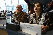 Romanian Roma Nicolae Gheorge advisor to on Roma and Sinti issues, and Roma  representative Miranda Voulasranta from Finland. Roma Travellers  Forum, Council of Europe, Strasbourg  December 2005.  An historic moment for Roma Gypsies across  Europe. The opening plenary assembly. Roma self-determination is recognized officially  at European level.