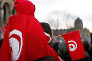 Paris, France. 15 Janvier 2011.<br /> Manifestations de soutien a la Tunisie apres le depart du president Ben Ali.<br /> <br /> Paris, France. January 15th 2011<br /> Around 7000 Tunisians and sympathizers marched through Paris after the departure of the president Ben Ali.