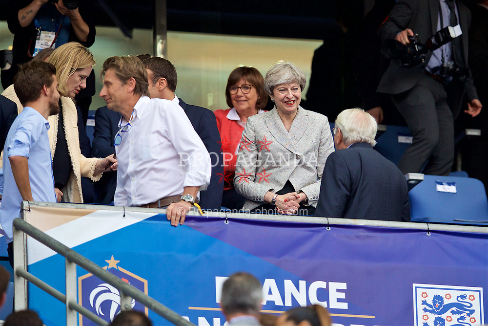 PARIS, FRANCE - Tuesday, June 13, 2017: Leader of the Conservative Party and minority British Prime Minister Theresa May before an international friendly match at the Stade de France. (Pic by David Rawcliffe/Propaganda)