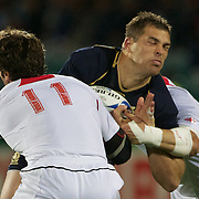Sean Lamont, Scotland, is tackled by Alexander Todua, Georgia, (left)  during the Scotland V Georgia Pool B match  during the IRB Rugby World Cup tournament.  Invercargill, New Zealand, 14th September 2011. Photo Tim Clayton...