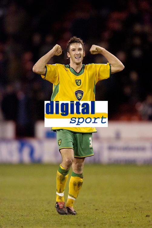 Photo: Jed Wee.<br />Sheffield United v Norwich City. Coca Cola Championship.<br />26/12/2005.<br />Norwich's Adam Drury celebrates at the final whistle.