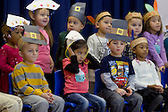 """Middletown, New York - Preschool and pre-K students perform in the """"YMCA Thanksgiving Day Spectacular"""" on the stage of the Center for Youth Programs on Nov. 27, 2013."""
