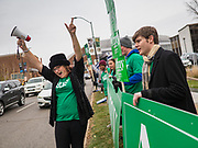 01 NOVEMBER 2019 - DES MOINES, IOWA: Campaign volunteers and surrogates Supporters of presidential candidate Amy Klobuchar rally on the streets of Des Moines Friday. Campaign volunteers and surrogates rallied on the streets of Des Moines before the Iowa Democratic Party Liberty and Justice Celebration in the Wells Fargo Arena. About 14,000 people attended the evening event which featured speeches from Democratic candidates for president.          PHOTO BY JACK KURTZ