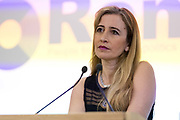 Sandra Khadhouri, Head of Communications at the launch of of Renew, the new pro-remain political party at the Queen Elizabeth II conference centre in London, England on February 19th, 2018. The Renew Party plans to fight elections from a platform of remaining in the European Union EU.