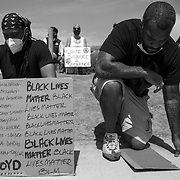 Several hundred people gathered for a peaceful protest in support of Black Lives Matter and against the murder of George Floyd in Minneapolis.