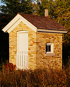 Brick privy built in 1866 behind the Copper Harbor Lighthouse, Fort Wilkens State Park, Keweenaw Peninsula of the Upper Peninsula, Copper Harbor, Michigan.