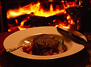 Beef Stew. made of beef tenderloin and vegetables by Kirsten Dixon and served before a crackling fire at Winterlake Lodge, Alaska.