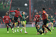 Jordan Zemura (33) of AFC Bournemouth battles for possession with Morgan Gibbs-White (27) of Sheffield United during the EFL Sky Bet Championship match between Bournemouth and Sheffield United at the Vitality Stadium, Bournemouth, England on 2 October 2021.