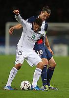 Aleksandar Mitrovic of RSC Anderlecht and Zlatan Ibrahimovic of PSG - Paris St Germain