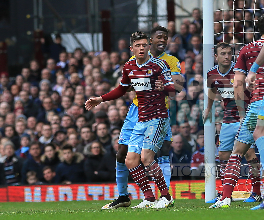 West Ham's Aaron Cresswell looks on dejected after he puts the ball in his own net to put Crystal Palace 1-0 up<br /> <br /> Barclays Premier League - West Ham United  vs Crystal Palace  - Upton Park - England - 28th February 2015 - Picture David Klein/Sportimage