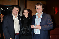 Left to right, EDWARD COLLINS, GEORGIE RYLANCE and EDWARD SEYFRIED at a party in aid of the Youth at Risk charity held at Raffles, 287 King's Road, London on 27th November 2013.