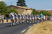 France, Grabels, 7 July 2009: Cervelo Test Team leave Grabels during Stage 4 of the 2009 Tour de France cycle race. This stage was the Team Time Trial and started and ended in Montpellier and was 39km long. Photo by Peter Horrell / http://peterhorrell.com .