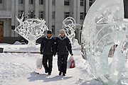 Khabarovsk, Russia, 01/03/2004.&#xD;People walk among among ice statues in city centre at lunch-time.&#xD;<br />