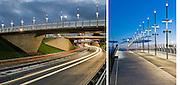 Architectural photographs of the footbridge built to connect Partick Interchange with Glasgow Harbour.