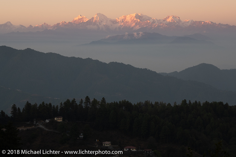 Spectacular view from the patio of our inn near the village of Daman where we spent our first night in the mountains on our Himalayan Heroes adventure from Kathmandu to Daman, Nepal. The view took in Dhaulagiri to the west and Mount Everest in the east. Tuesday, November 6, 2018. Photography ©2018 Michael Lichter.