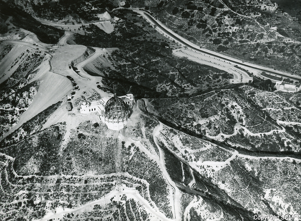 1933 Aerial photo of Griffith Park Observatory under construction