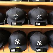 Yankee baseball hats for sale at the Yankees store at Yankee Stadium, The Bronx, during the New York Yankees V Detroit Tigers Baseball game at Yankee Stadium, The Bronx, New York. 28th April 2012. Photo Tim Clayton