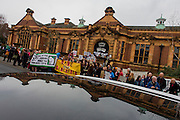 Campaigners protesting the closure by Lambeth council of Carnegie Library listen to speakers on Herne Hill, south London on 2nd April 2016. The angry local community in the south London borough have occupied their important resource for learning and social hub for the weekend. After a long campaign by locals, Lambeth have gone ahead and closed the library's doors for the last time because they say, cuts to their budget mean millions must be saved. A gym will replace the working library and while some of the 20,000 books on shelves will remain, no librarians will be present to administer it. London borough's budget cuts mean four of its 10 libraries will either close, move or be run by volunteers.