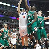 17 March 2012: Philadelphia Sixers center Nikola Vucevic (8) vies for the rebound with Chicago Bulls small forward Luol Deng (9) and Chicago Bulls center Omer Asik (3) during the Chicago Bulls 89-80 victory over the Philadelphia Sixers at the United Center, Chicago, Illinois, USA.
