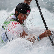 Mike Kurt, Switzerland, in action during the Kayak Single (K1) Men Final during the Canoe Slalom competition at Lee Valley White Water Centre during the London 2012 Olympic games. London, UK. 1st August 2012. Photo Tim Clayton