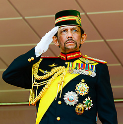 BANDAR SERI BEGAWAN, July 15, 2018  Brunei's Sultan Haji Hassanal Bolkiah salutes back to the parading people during a ceremonial parade held for his 72nd birthday celebration in Bandar Seri Begawan, capital of Brunei, July 15, 2018. Brunei celebrated the Sultan Haji Hassanal Bolkiah's 72nd birthday with various activities including a ceremonial parade and a grand state banquet on Sunday. lrz) (Credit Image: © Jeffrey Wong/Xinhua via ZUMA Wire)