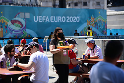 © Licensed to London News Pictures. 13/06/2021. London, UK. England fans gather in the Fan Zone at Trafalgar Square in central London for England's opening game of the 2020 European Championship against Croatia. Photo credit: Ben Cawthra/LNP